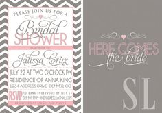 BRIDAL SHOWER INVITATION pink and grey. $18.00, via Etsy.