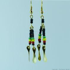 Brass Maasai Beads Rasta Earrings 154-29
