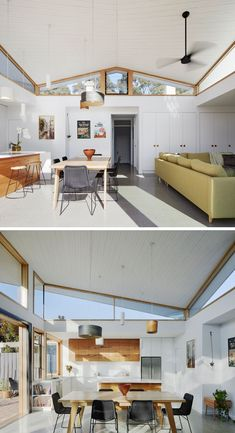 A Rear Extension With An Angled Roof Was Added To This Australian House - - Ben Callery Architects worked together with builder Truewood Construction to design and complete a modern extension on a house in Melbourne, Australia. House Extension Design, Roof Extension, House Design, Glass Extension, Extension Ideas, Timber Ceiling, Timber Windows, Interior Exterior, Interior Design