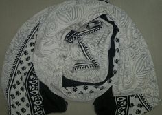 10% OFF for Pinners, Coupon Code 'PIN10'. Long Scarf Indian Silk Sari Scarf Black and Pearl White Paisley LSF1