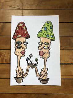 "🍄SHROOMIES 🍄 • Original mixed media drawing of two little shroom homies • Measures 7""x10"" • Made with acrylic paint pens and acrylic paint #mixedmedia #mixedmediapainting #painting #drawing #acrylicpainting #acrylic #acrylicpaints #psychedelic #trippy #psychedelicpainting #psychedelicart #trippypainting #trippyart #decor #wallart #artforsale #etsy #mushrooms #drugs #mushroomart"