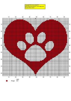 Cross stitch dog paw heart