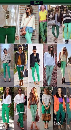 Green Jeans Outfit, Green Skirt Outfits, Colored Pants Outfits, Fashion Mode, Work Fashion, Fashion Outfits, Kelly Green Pants, Blue Pants, White Pants