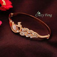 Moda de las nuevas mujeres de / Lady 's 18 k Rose Gold Filled cristal austriaco pavo real Opal pulseras brazaletes de pulsera de puño joyería envío gratis
