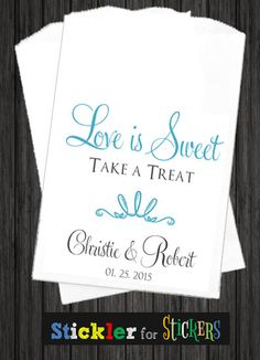 WKB48 - Love Is Sweet Take a Treat Wedding Favor Bag, Wedding Favors, Wedding Candy Station, Wedding Popcorn Station, Wedding Thank You Bags