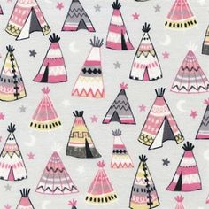 Teepees Pink and Grey Indian Teepee Tents Cotton Fabric available at 4my3boyz Fabrics.