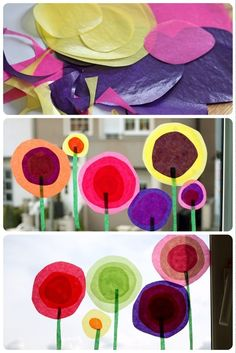 Tissue paper window flowers - great kids activity and window decoration in the winter or spring!
