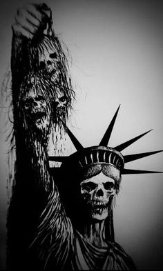 give me liberty or give me death. (( this image speaks to me )) Skullie statue of liberty Arte Horror, Horror Art, Tattoo Hals, Arte Obscura, Skull Tattoos, Grim Reaper, Skull And Bones, Dark Beauty, Dark Art
