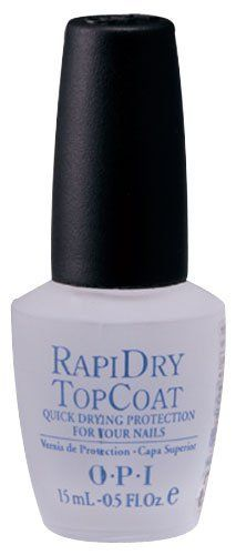 OPI Rapidry Top Coat # NT T74 Nail Polish 0.5 oz by OPI, drys really fast and makes your nails resist chipping. Why would I take forever to paint my nails to have them chip the next day, right?