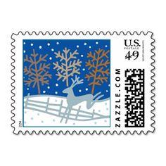 Holiday Snowy Reindeer Christmas Postage #holiday #postage #christmas