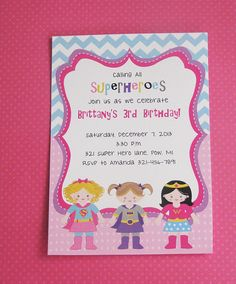 NEW Superhero Invitation Birthday Invitation For GIRLS Superhero Party Chevron Pattern on Etsy, $16.20