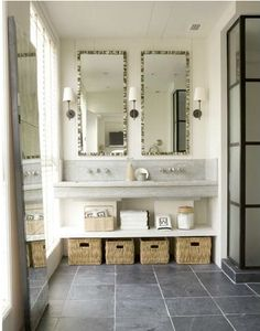 Bathroom Slate Floor Design Ideas, Pictures, Remodel, and Decor - page 4 Counter Top Sink Bathroom, Bathroom Sink Storage, Sink Countertop, Bathroom Countertops, Bathroom Flooring, Bathroom Organization, Organized Bathroom, Countertop Organization, Organization Ideas