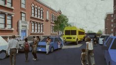 Three-quarters of New York's street space is dedicated to the movement and storage of vehicles. These renderings imagine what else that space could be used for. Street Look, Street View, Street Trash, Trash And Recycling Bin, Commercial Street, Public Seating, Bike Parking, Old Photographs, Pedestrian