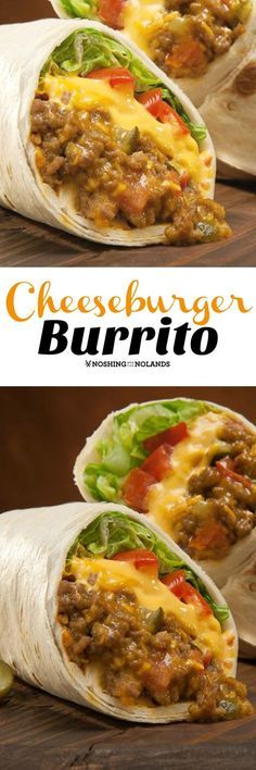 Cheeseburger Burrito by Noshing With The Nolands. We have made these so many times and so will you, cheesy and wonderful with all the flavors of a great burger wrapped up in a burrito. Hamburger Recipes Easy, Easy Recipes For Two, Quick Food Recipes, Easy Mexican Recipes, Hamburger Recipes For Dinner, Hamburger Sauce, Easy Meals For Two, Easy Sandwich Recipes, Dinner Recipes Easy Quick