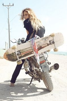 wow, i would love to own this duo, a longboard and motorcycle....yes please!!