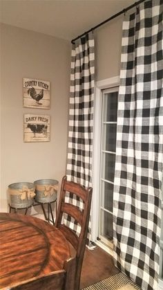 Black and White Buffalo Check Curtains – Rod Pocket – Options for Cotton and Blackout Lining – Farmhouse Decor Porch Buffalo Check Curtains, Buffalo Plaid Curtains, Farmhouse Kitchen Curtains, Farmhouse Curtain Rods, Home Decoracion, Farmhouse Style, Modern Farmhouse, Farmhouse Decor, Country Decor