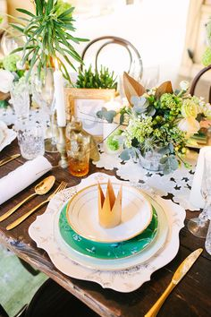 Whimsical Place Setting   Photoshoot from Katie Stoops   See more on Style Me Pretty: http://www.StyleMePretty.com/destination-weddings/2014/03/17/romantic-irish-wedding-inspiration/