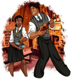 Tiana and Prince Naveen as Hogwarts Students
