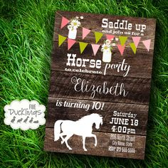 Horse party invitation Rustic wood invite Horse by Horse Birthday Parties, Farm Birthday, Baby Girl Birthday, Birthday Party Themes, Birthday Invitations, Birthday Ideas, Third Birthday, Wood Invitation, Rustic Invitations