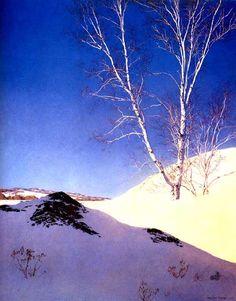 "Maxfield Parrish, ""White Birches"" (Thomas Kincade, ""painter of light,"" my ass.)"