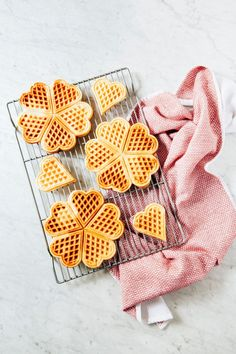 Adorable heart shaped waffles! The most charming Valentine's Day breakfast you ever did see — also perfect for dessert with chocolate fondue!