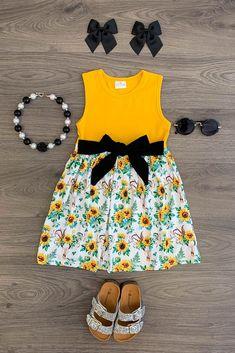 Mustard Sunflower Tie Dress Baby Girl Halloween Outfit, Cute Baby Girl Outfits, Toddler Girl Outfits, Toddler Dress, Outfits For Teens, Baby Dress, Beautiful Frocks, Kids Fashion, Fashion Outfits