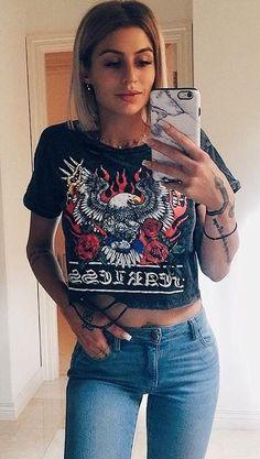 #summer #outfits Black Printed Crop Top + Skinny Jeans