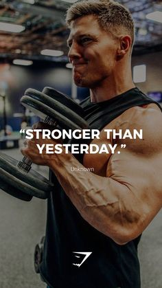 stronger than yesterday unknown gymshark quotes motivational inspiration motivate phrases inspire fitness fitnessquotes motivationalqu Sport Motivation, Gym Motivation Quotes, Gym Quote, Training Motivation, Men Fitness Motivation, Workout Motivation, Fitness Quotes, Cycling Motivation, Bodybuilding Motivation
