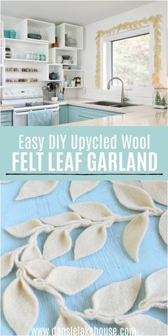 Upcycled Wool DIY Felt Leaf Garland. Learn how to make this easy DIY felt leaf garland. I used upcycled wool from the thrift shop (you can felt sweaters, scarves, or cut up old wool blankets). This Christmas felt garland looks pretty around a window, on a mantel or tree. DIY felted leaf garland is a pretty DIY Christmas felt garland tutorial to make for a homemade holiday vibe but it works as a DIY fall garland too. #feltgarland #diygarland Diy Wool Felt, Felt Diy, Decor Crafts, Diy Home Decor, Yarn Crafts, Fabric Crafts, Holiday Crafts, Christmas Diy, Christmas Sewing