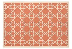 """Flora Outdoor Rug, Terracotta on OneKingsLane.com 8' x 11'2"""" is $299 ( origin. $605). I like the pattern for rug, wall treatment, or other textiles in general."""