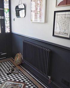 Homedecorrustic two tone walls, dark hallway, hallway paint, tiled hallway, Flur Design, Home Design, Interior Design, 1930s House Interior, Interior Ideas, Hall Interior, Color Interior, Interior Stairs, Interior Paint
