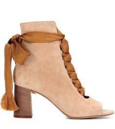 Beige Harper peep-toe ankle boots