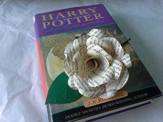 6 Harry Potter Book Paper Flower Rose Buttonhole / Boutonnière, Wedding Flowers…