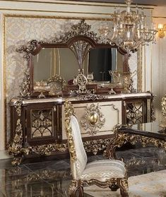 Luxury Dining Room, Vanity, Mirror, Buffet, Furniture, Home Decor, Dressing Tables, Powder Room, Decoration Home