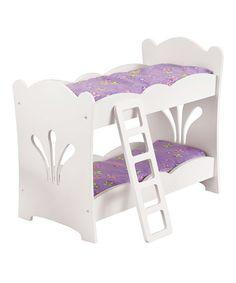KidKraft White & Purple Bunk Bed for 19'' doll $29.99