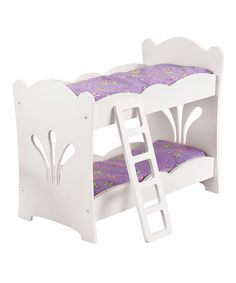 White & Purple Bunk Bed for 19'' Doll #zulily #zulilyfinds