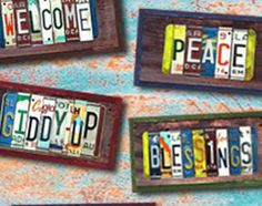 """Imagination is the """"driving"""" force behind these car and motorcycle plates repurposed as artistic home decor! Diy Craft Projects, Fun Crafts, Craft Ideas, Game Room Basement, License Plate Art, Car Part Furniture, Used Car Parts, Family Room Decorating, Plate Crafts"""