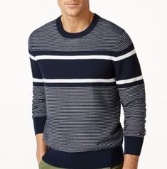 Mens Winter Sweaters, Mens Fashion Sweaters, Knit Fashion, Male Fashion Advice, Gents Sweater, Sweater Design, Striped Tee, Pullover, Hoodie
