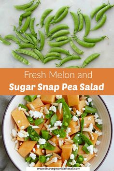 This no cook summer salad is the perfect meal for those hot nights when you don't want to turn on the oven! It takes less than 15 minutes to assemble and features fresh melon, snap peas, goat cheese, almonds, and a lemon honey dressing. #snappeas #melon #summer