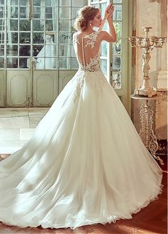 Buy discount Glamorous Tulle & Satin Bateau Neckline See-through A-Line Wedding Dresses With Beaded Lace Appliques at Dressilyme.com