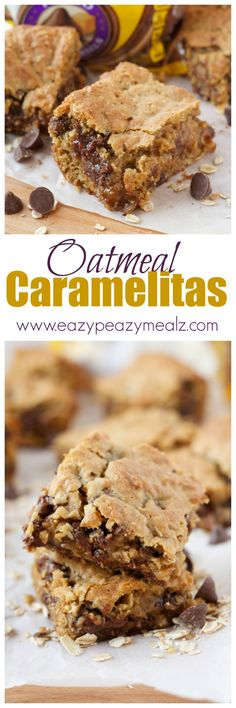 Oatmeal Caramelitas: An oatmeal caramelita cookie bar stuffed with chocolate and caramel. This decadent treat whips up quick and is sure to be a hit. - Eazy Peazy Mealz