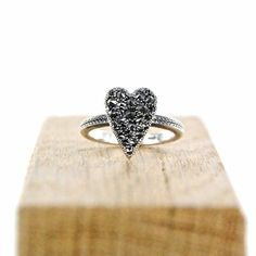 """Find what you love and let it kill you  Otto """"Bittersweet"""" heart ring with top quality black diamonds  #ottojewels #jewels #jewelry #bittersweet #ring #love #givelove"""