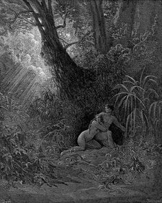 """Gustave Dore - Illustration to Paradise Lost by John Milton - 42 - Adam and Eve hide from God - """"The voice of God they heard Now walking in the Garden, by soft windes Brought to thir Ears, while day declin'd, they heard, And from his presence hid themselves among The thickest Trees, both Man and Wife, till God Approaching, thus to Adam call'd aloud."""""""