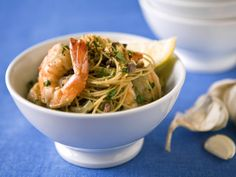 Dawn's Scampi from FoodNetwork.com  Uses chicken broth instead of butter.  Love shrimp, want to try this one.