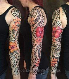 Hawaiian Tribal Flower Tattoos For Women Hawaiian Flower Tattoos, Tribal Flower Tattoos, Tribal Tattoos For Men, Tribal Sleeve Tattoos, Tribal Tattoo Designs, Sleeve Tattoos For Women, Forearm Tattoos, Body Art Tattoos, Tattoos For Guys