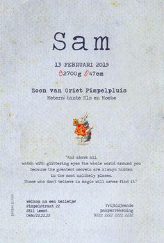 Geboortekaartje Sam - achterkant - Pimpelpluis - https://www.facebook.com/pages/Pimpelpluis/188675421305550?ref=hl (# alice in wonderland - rabbit - konijn - dieren - vintage - retro - origineel)