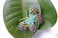 Butterrfly BROOCH / beadeaving jewellery in peyote by BeadingWay