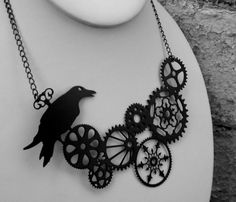 Steampunk jewelry - black steel raven necklace - FLAWED. $16.00, via Etsy.    http://www.etsy.com/listing/94241109/steampunk-jewelry-black-steel-raven#