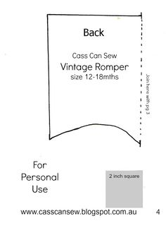 Vintage Romper Pattern - Cass Can Sew
