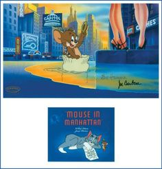 """Mouse in Manhattan"", this scene captures Jerry floating down a New York Street. This Tom and Jerry cartoon was about a country mouse moving to ""the big city"".  What made this story different it was almost a solo performance for Jerry (the mouse) as Tom (the cat) only appears in the opening and closing sequences. The cel is hand-signed by Joe Barbera along with a tribute gold silk-screened signature to his partner Joe Barbera, who passed away in 2001."